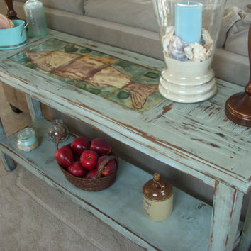 Handmade Wood Table Shabby Beach Cottage - Sofa or Buffet Table - Reclaimed Wood