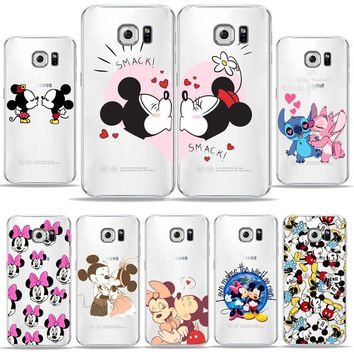 Mickey Mouse kiss Minnie Transparent Soft TPU Cover Cell Phone Case For samsung a5 2017/galaxy a7 2017/s6/s7 Edge/s8/s8Plus