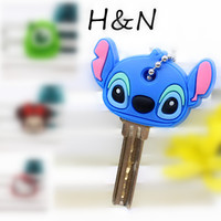 2 piece a lot key cover Bear Mickey Hello Kitty Minion cartoon Keychain Stitch Caps Head Covers Key chain Anime Silicone holder