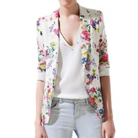 FINEJO Women Fit Casual Floral Vintage Flower Print Slim Button Blazer Coat Jacket