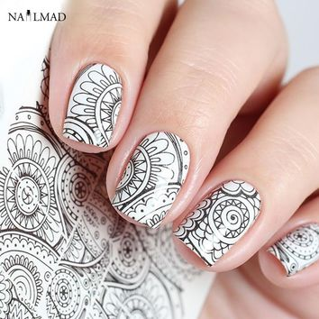 1 sheet Mandala Nail Water Decals Black Mandara Nail Art Sticker Tattoo Decals Water Slide