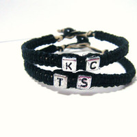 Macrame Hemp Black Couples Bracelets with by customhemptreasures