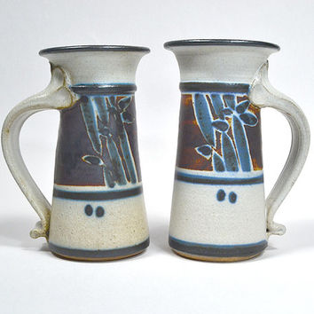 Bamboo motif mugs -  studio pottery mugs, hand thrown tankards, vintage handmade stoneware, unique coffee mugs & tea cups {cream navy rust}