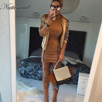 Women Sexy Bandage Dresses Autumn Suede Fashion Hollow Out Summer Solid Midi Dress For Women