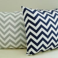 Chevron Pillow Covers Navy Gray Zig Zag Throw Accent Decorative Nautical 18x18 Set of 2 Cotton Home Decor 18 inch