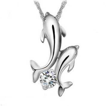 Dolphins 925 Sterling Silver Necklace