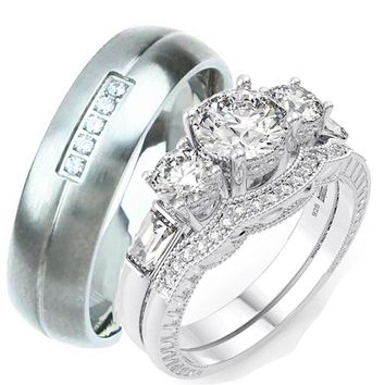 His Her Wedding Ring Set Vintage Style 3 Stone Wedding Ring Match Mens  Ring