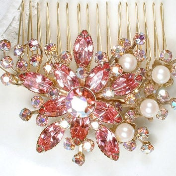OOAK TrUe Vintage Rose Pink Rhinestone & Pearl Gold Bridal Hair Comb, Large Floral Spray Brooch to Headpiece, 1950s Vintage Wedding Rustic