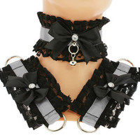 Kitten play collar and cuffs black gray, lolita, ddlg, bdsm collar, kittenplay, pastel gothic, goth kawaii, Pet play, puppy Princess C13
