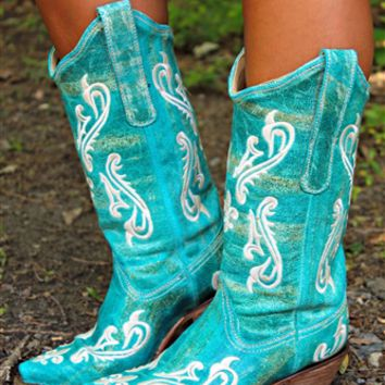 Turquoise Blue Cortez Cleff Embroidery Corral Boots (PRE ORDER)