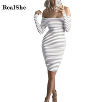 RealShe Women Dresses Sexy Slash Neck Dress 2016 Brand Long Sleeve Stripped Brief Winter Sheath Dress Plus Size Women Clothing