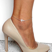 Silver Cross Anklet, Bridal Jewelry, Delicate Anklet, Gift for mom, girlfriend, Foot jewelry, Ankle Bracelet