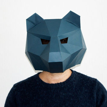 Make your own Bear Mask, Animal Head,Instant Pdf download, DIY Halloween Paper Mask, Printable Templates, 3D Pattern, Polygon Masks