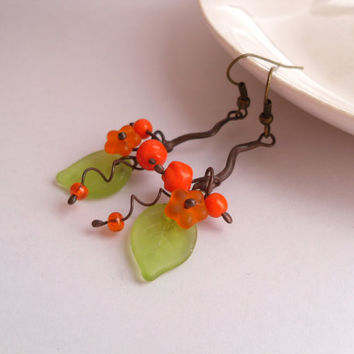 Statement earrings, glass beaded earrings, artistic jewelry, orange earrings, eccentric jewelry, copper wire earrings, Bouquet