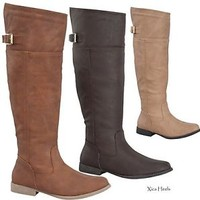 Women's Boots Knee High Riding Boot Tall Flat Faux Leather Tan Taupe Brown New