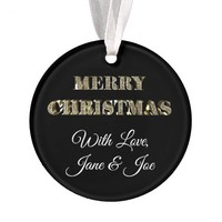 Merry Christmas Black White Gold Elegant Ornament
