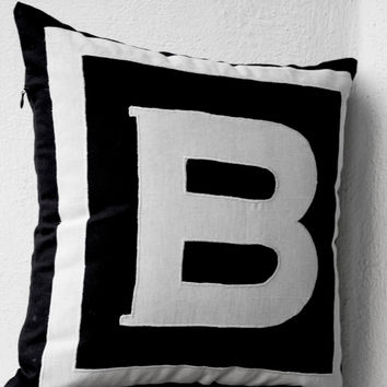 Personalized Monogram Black Pillow- Big letter pillow- Alphabet throw pillow- Customized letter cushion- Black White Cotton pillow- 20x20