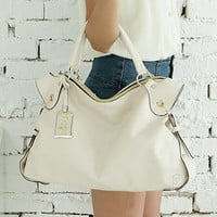YESSTYLE: PG Beauty- Faux-Leather Satchel (Off-White - One Size) - Free International Shipping on orders over $150