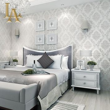 Classic European Style Wall papers Home Decor embossed 3D Damask Wallpaper Roll Bedroom Living Room Sofa TV Background