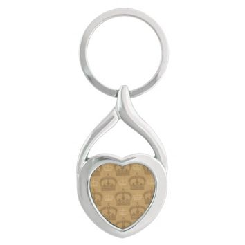Vintage Royal Sepia Crown Pattern Silver-Colored Heart-Shaped Metal Keychain