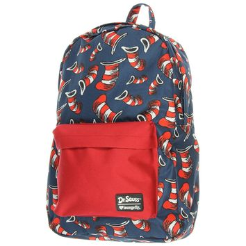 Loungefly x Dr. Seuss Cat in the Hat Navy and Red AOP School Backpack