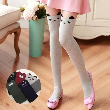 New Women Cotton Cartoon Bear Over Knee Sock Sexy Thigh High stockings autumn winter warm Socks Wholesale Panda Cat Stockings