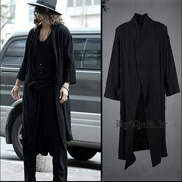 2017 Summer men cotton linen long coat black windbreaker punk jacket thin casual trench hairstylist nightclub singer costumes