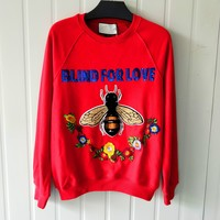 Gucci Fashion Bee Stitching Sequins Sweater Top Red
