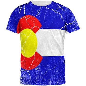 Colorado Vintage Distressed State Flag All Over Mens T Shirt