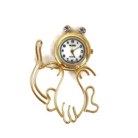 Vintage Watch, Cat Brooch, Suizo Watch Pin, Goldtone Rhinestone Kitty Novelty Watch, Gift for Her