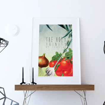 Kitchen Print Kitchen Decor Holy Trinity Of Cooking Art Rustic Farmhouse Giclee Print on Cotton Canvas and Paper Canvas Poster Home Wall Art