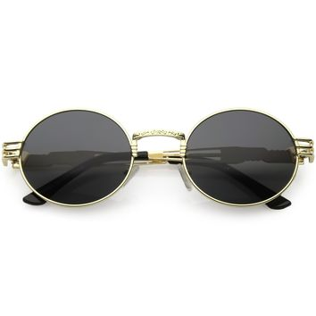 Steampunk Inspired Oval Sunglasses Unique Engraved Metal Detail Color Tinted Lens 60mm