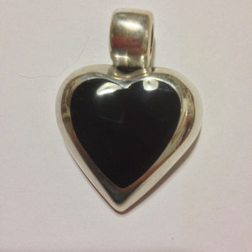 Taxco Onyx Heart Pendant Sterling SIlver Mexico Mexican Slide Enhancer Vintage 925 Jewely Tribal Southwestern Birthday Holiday Xmas Gift
