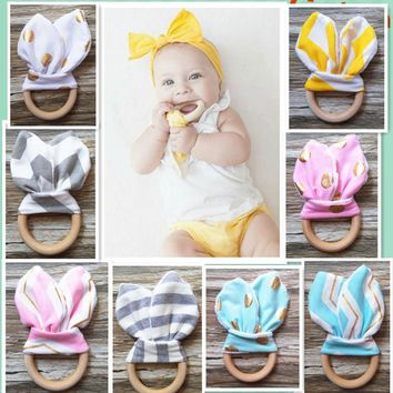 Patterned Bunny Ear Wooden Teething Toy
