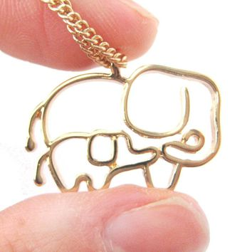 Elephant Mother and Baby Outline Shaped Animal Pendant Necklace in Gold | DOTOLY