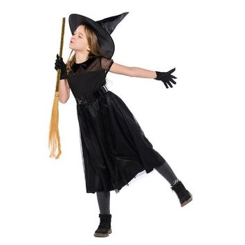 Cool New Arrival Halloween Party Children Kids Cosplay Witch Costume For Girls Carnival Black Costume Witch Dress With Hat and BeltAT_93_12