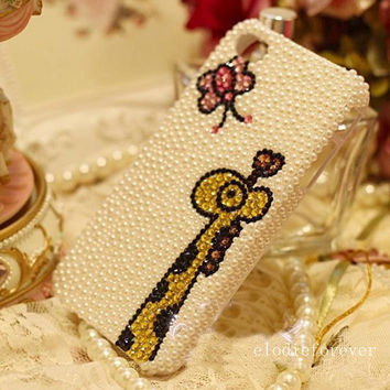 Bling Bling Rhinestones Swarovski Crystals Pink Butterfly and Gold Sika Deer Pearls iPhone 4 Case iPhone 4S Case iPhone 5 Case handmade