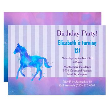 Wild Horse in Blue and Purple Watercolor Birthday Card