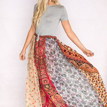 Gypsy Road Patchwork Maxi Dress