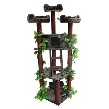 "Kitty Mansions 75"" Redwood Cat Tree 