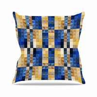 "Dawid Roc ""New Stripes Mosaic"" Blue Gold Throw Pillow"