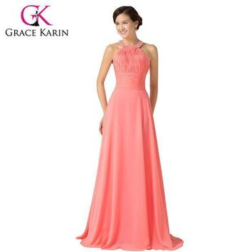 2016 Grace Karin Halter Chiffon Watermelon Long Bridesmaid Dresses Floor Length Back To School Prom Dress Bridesmaid Gown 6028