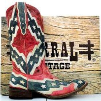 Corral Mens Rebel Flag Square Toe Cowboy Boots