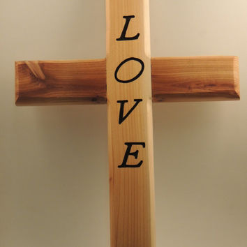 LOVE, Wood Cross, Religious, Scripture, Wall Hanging, Home Decor, Half-lapped, Hand Routed, Wall Art, Cross, Spiritual