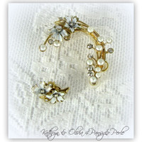 Gold and White Enamel Flower Bridal Ear Cuff Accented with rhinestones and Coordinated Rose Flower Stud Earring