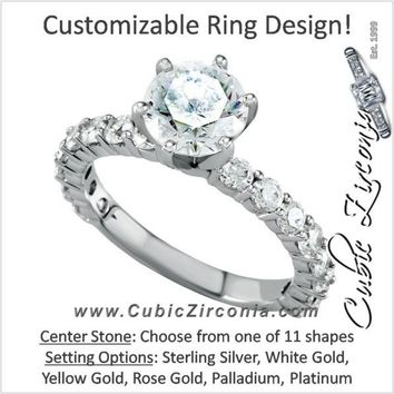 Cubic Zirconia Engagement Ring- The Kelly (Customizable with Round Accented Band)