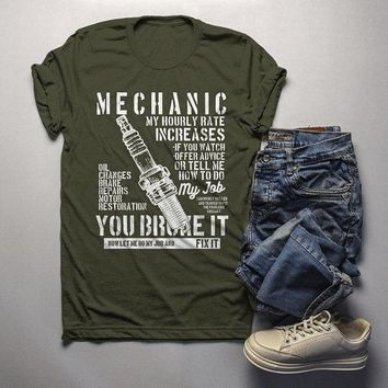 Men's Funny Mechanic T Shirt Hourly Rate Shirts Spark Plug Tee Mechanics Gift Idea