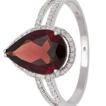 CERTIFIED 2.60ct 10k White Gold Pear-Shaped Garnet and Halo Diamond Ring 1/4 ctw