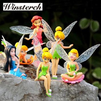 6pcs/Set Tinkerbell Dolls Flying Flower Fairy Children Animation Cartoon Toys