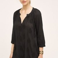 Eloise Embroidered Sleep Shirt in Black Size: